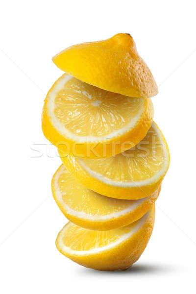 Stok fotoğraf: Düşen · dilimleri · limon · yalıtılmış · beyaz · gıda