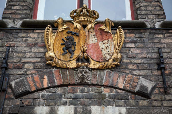 Decoration on old houses of Bruges, Belgium Stock photo © artjazz