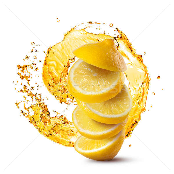 Photo stock: Relevant · tranches · citron · jus · Splash · isolé