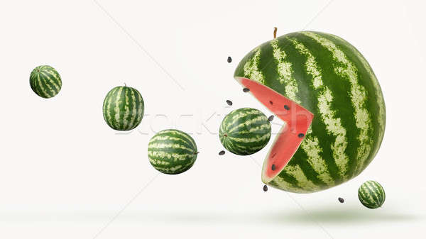 funny pacman watermelon Stock photo © artjazz