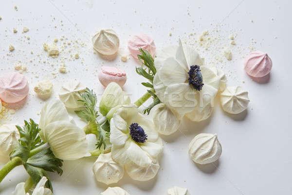White flowers on white background Stock photo © artjazz