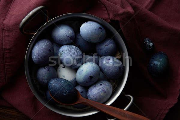 Сток-фото: пасхальных · яиц · окрашенный · фартук · яйца · приготовления