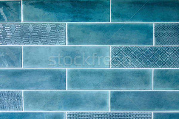 Blue background with ceramic tiles Stock photo © artjazz