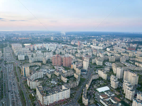 A bird's eye view, aerial panoramic view from drone to the Darnyts'kyi district of Kiev, Ukraine and Stock photo © artjazz