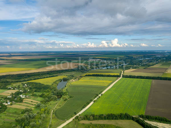 Panoramic view from drone to the countryside with a country buildings, dirt road and agricultural fi Stock photo © artjazz