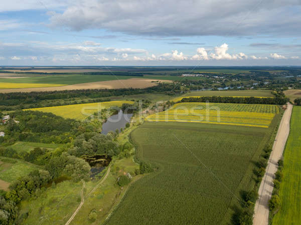 Panoramic view from drone to the countryside with a river, dirt road and agricultural fields against Stock photo © artjazz