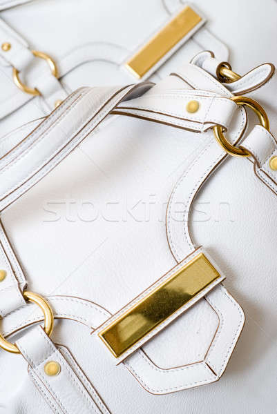 macro of luxury white leather female bag Stock photo © artjazz
