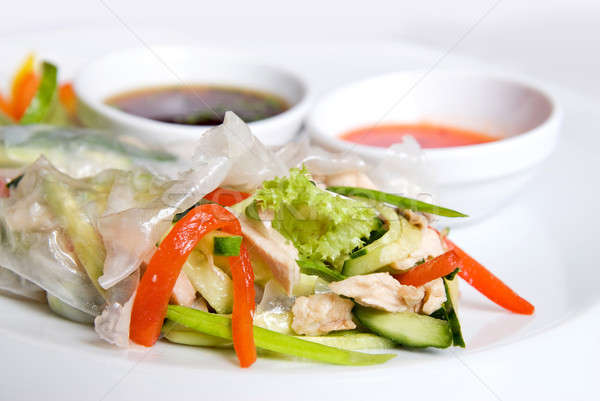 chinese rolls with vegetables on the plate Stock photo © artjazz
