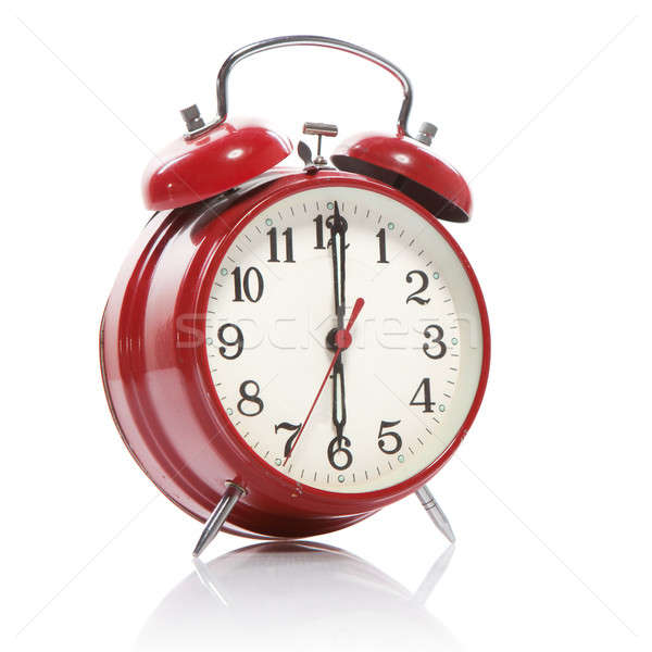 Stock photo: red old style alarm clock isolated on white