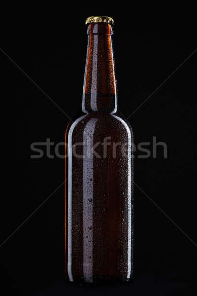 Bierfles waterdruppels geïsoleerd zwarte water partij Stockfoto © artjazz