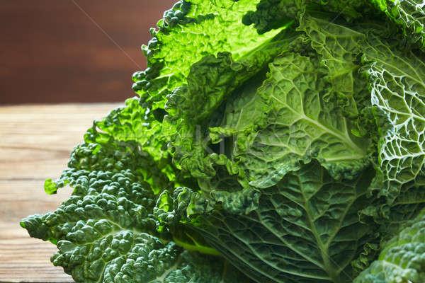 Savoy cabbage super food close up Stock photo © artjazz