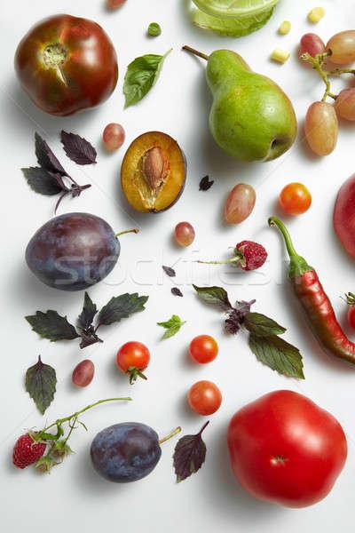Foto d'archivio: Fresche · cibo · sano · verdura · frutti · isolato · bianco
