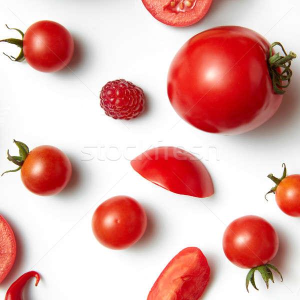 Foto d'archivio: Pomodoro · ciliegio · lampone · isolato · bianco · alimentare