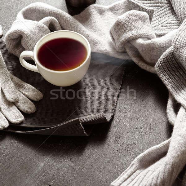 Warm kleding beker thee najaar dag Stockfoto © artjazz