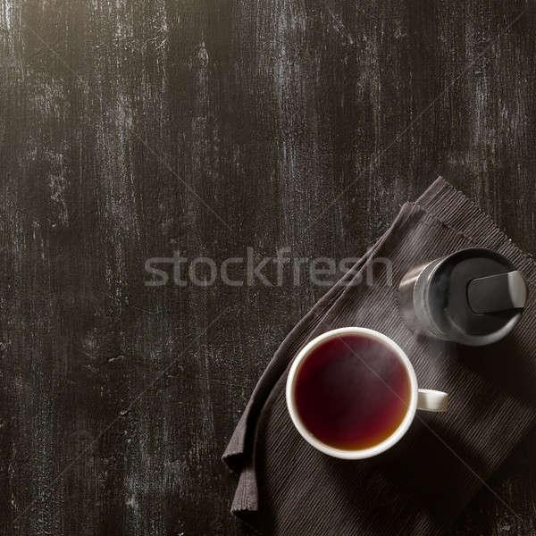 Кубок чай полезный коричневый салфетку темно Сток-фото © artjazz