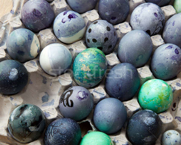 painted blue eggs in the tray Stock photo © artjazz
