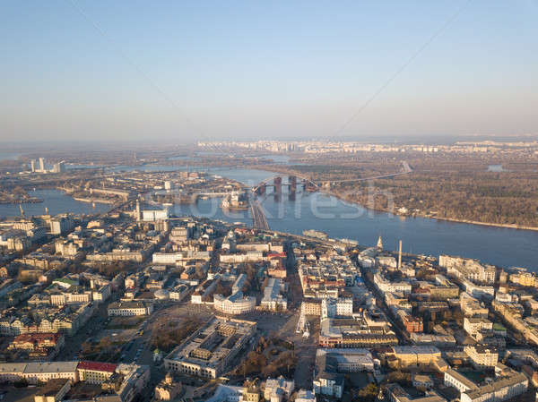 Panoramic view of the city of Kiev with the Dnieper River in the distance Stock photo © artjazz