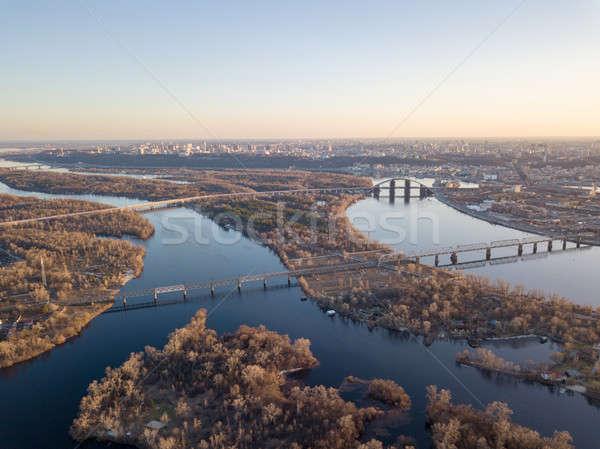 Panoramik görmek doğru banka sel nehir Stok fotoğraf © artjazz