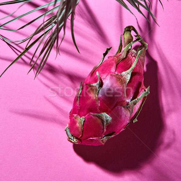 Lédús rózsaszín pálmalevelek árnyék egzotikus gyümölcs Stock fotó © artjazz
