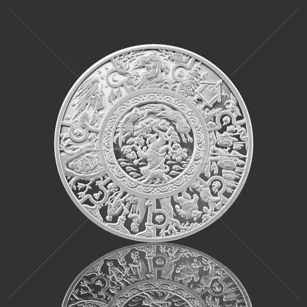 Rosyjski srebrny monety odizolowany czarny działalności Zdjęcia stock © artjazz