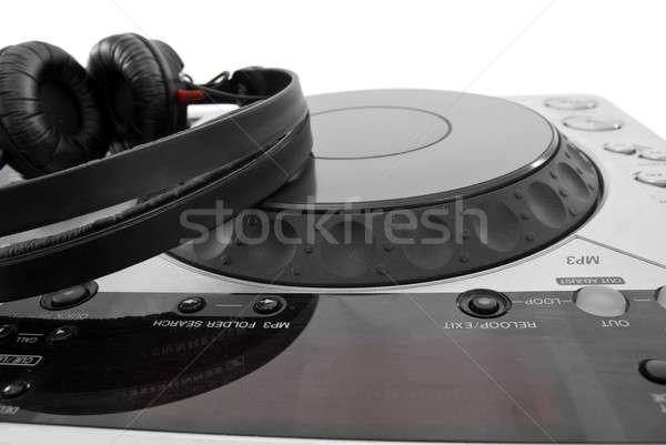 Mezclador aislado blanco fiesta auriculares placa Foto stock © artjazz