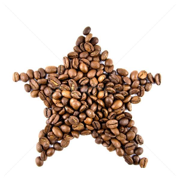 Stok fotoğraf: Star · kahve · çekirdekleri · yalıtılmış · beyaz · kahve · siyah