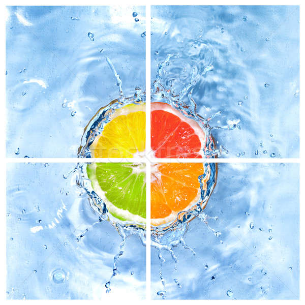 mix of citrus dropped into water with bubbles isolated on white Stock photo © artjazz