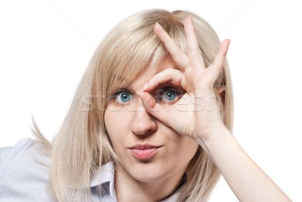 ストックフォト: 魅力的な · 若い女性 · にログイン · 孤立した · 白