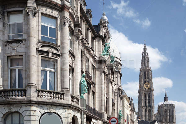 Old building in the city of Antwerp Stock photo © artjazz