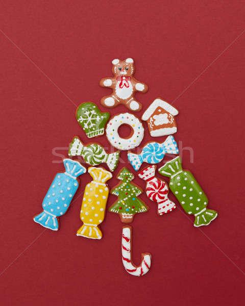 Beautiful Christmas tree made of gingerbread cookies Stock photo © artjazz