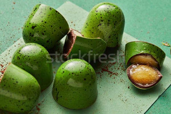 Zöld cukorka zselé csokoládé étel bár Stock fotó © artjazz