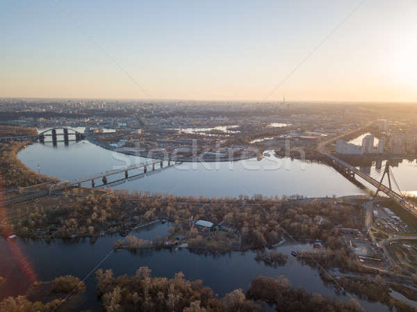 Panoramic view of the city of Kiev and bridges and the Dnieper river at sunset Stock photo © artjazz