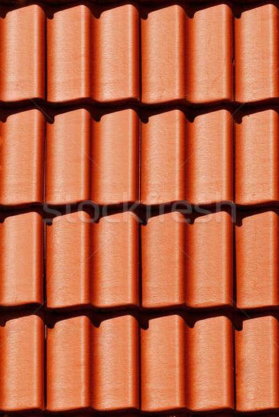 Close-up orange tile on roof in carpathians castle Stock photo © artjazz