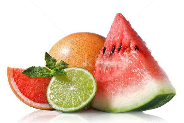 арбуза грейпфрут извести мята изолированный белый Сток-фото © artjazz