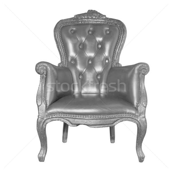 antique black leather chair isolated on white  Stock photo © artjazz