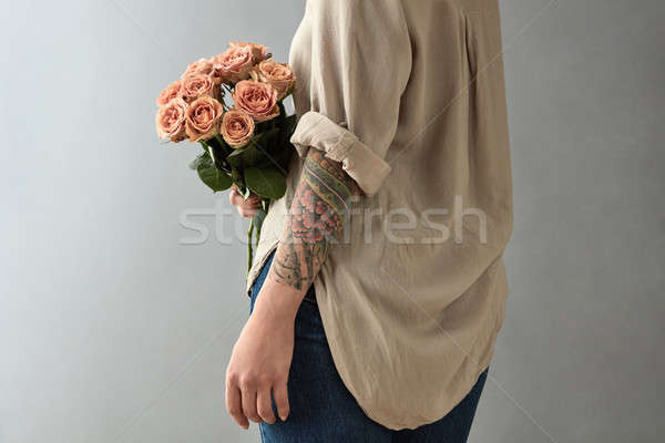 Tattoo beige rose bouquet Foto d'archivio © artjazz