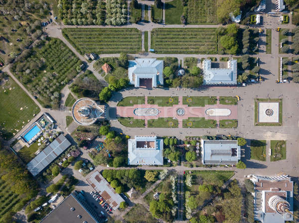 Aerial view exhibition center and park in the city of Kiev. Photo from the drone Stock photo © artjazz