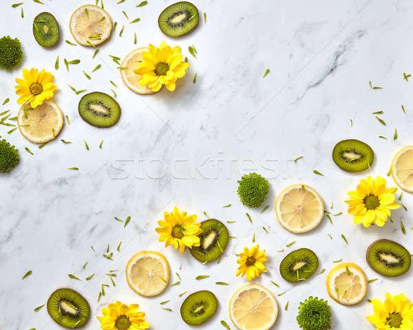 Kwiaty wzór naturalnych żółty zielone plastry Zdjęcia stock © artjazz