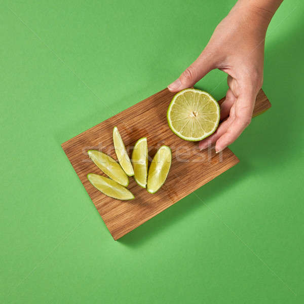 スライス 石灰 ボード 緑 女の子 ストックフォト © artjazz