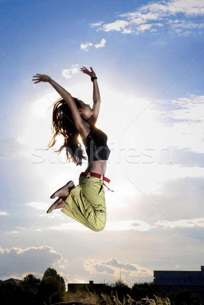 Сток-фото: прыжки · Blue · Sky · солнце · небе · трава