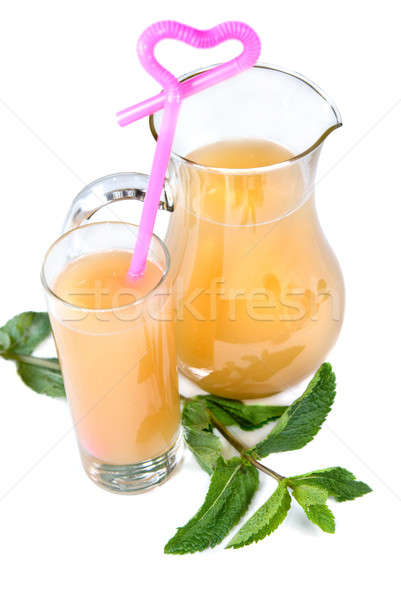 Stock photo: cold drink in glass with mint isolated on white