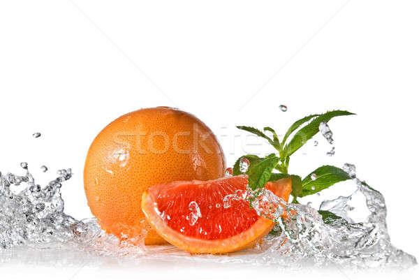 грейпфрут мята изолированный всплеск Сток-фото © artjazz