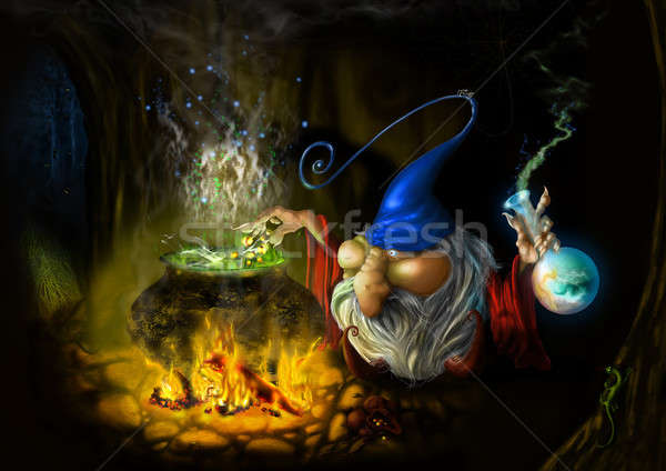 drawing fairy sly wizard in cave Stock photo © artjazz