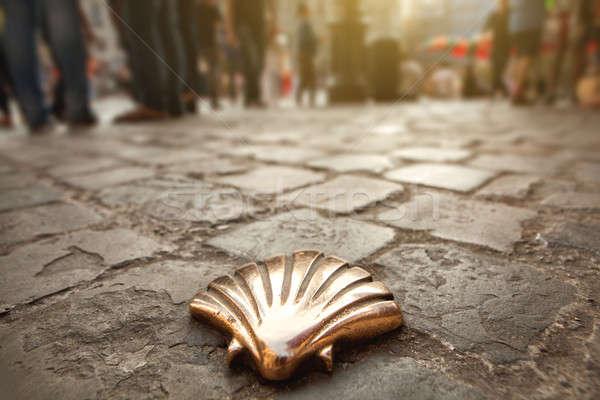Santiago Shell Bruselas Bélgica piedra flecha Foto stock © artjazz