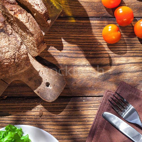 Top Italiaans eten houten tafel brood olijfolie Stockfoto © artjazz