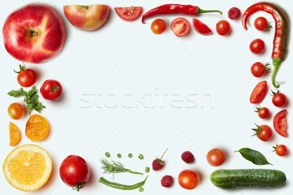 Stockfoto: Frame · groenten · vruchten · witte · ongebruikelijk · plaats