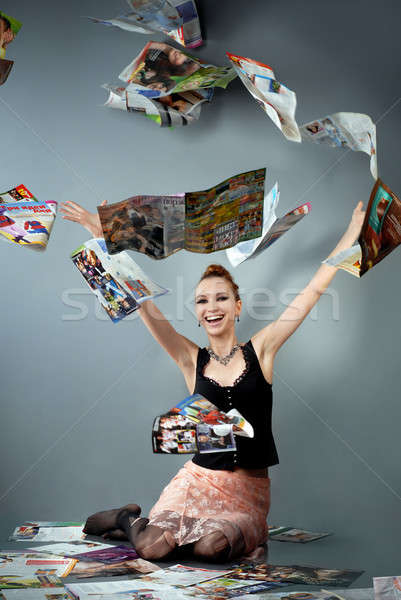 smiling girl throw up journals Stock photo © artjazz