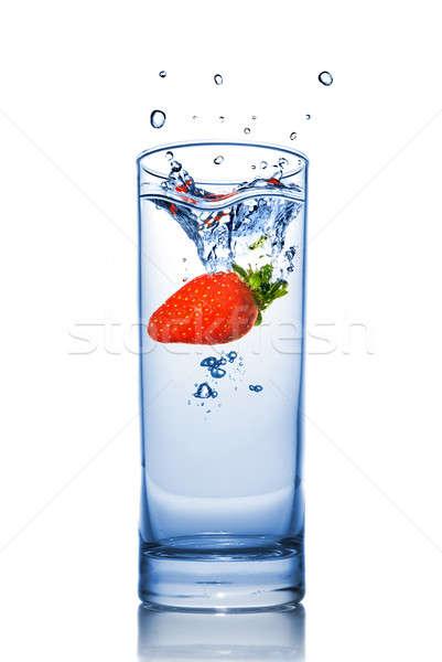 Stock fotó: Eper · víz · üveg · csobbanás · izolált · fehér