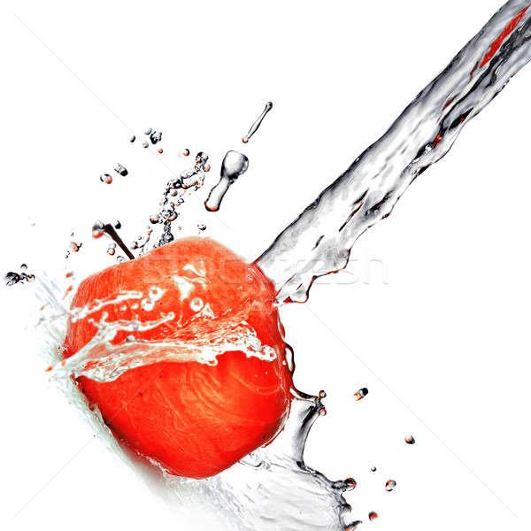 água doce salpico maçã vermelha isolado branco água Foto stock © artjazz