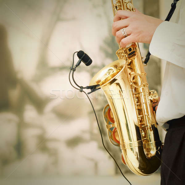 playing on sax Stock photo © artjazz